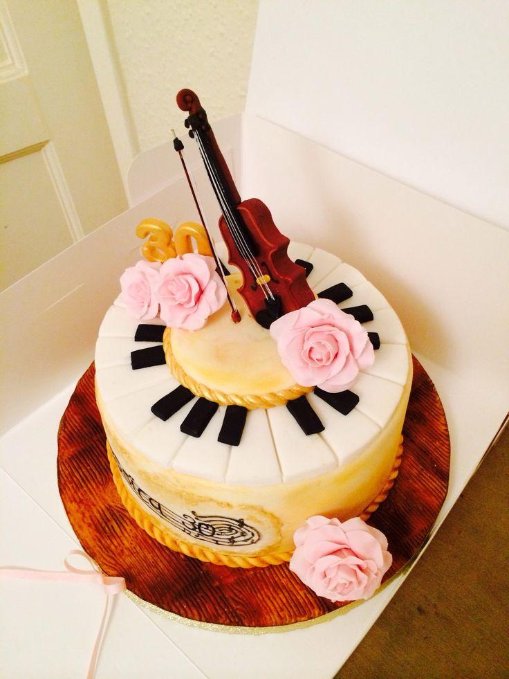 Violin Pink Roses Piano Vintage Gold 30th Birthday Cake