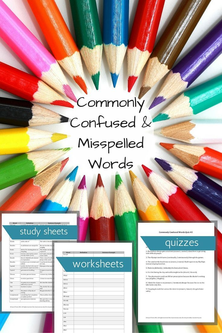 Commonly Confused and Misspelled Words - Vocabulary Work | Concursos ...