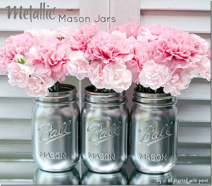 Beautiful metallic mason jars - decoración but copper and white flowers