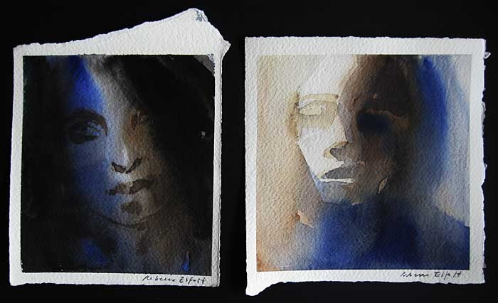 """Blick"" and ""Janus"" by Rebecca Elfast  I like how sinister these portraits look with the use of shadows"