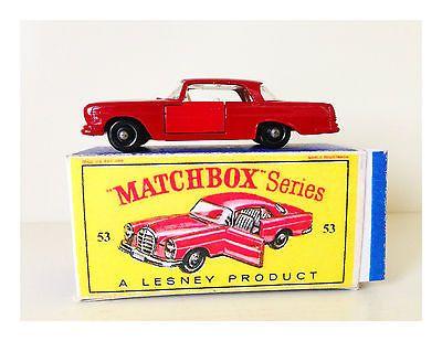 MATCHBOX LESNEY MERCEDES-BENZ 220SE - No. 53 -B- NM CAR - W/BOX - LOOK           - http://www.matchbox-lesney.com/?p=17752