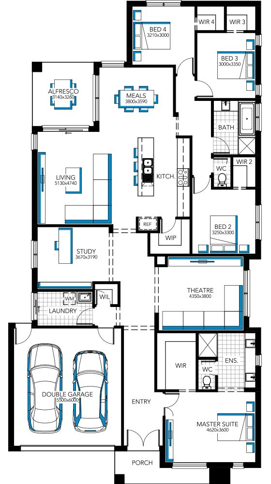 Floorplan with all walk in robes for all bedrooms