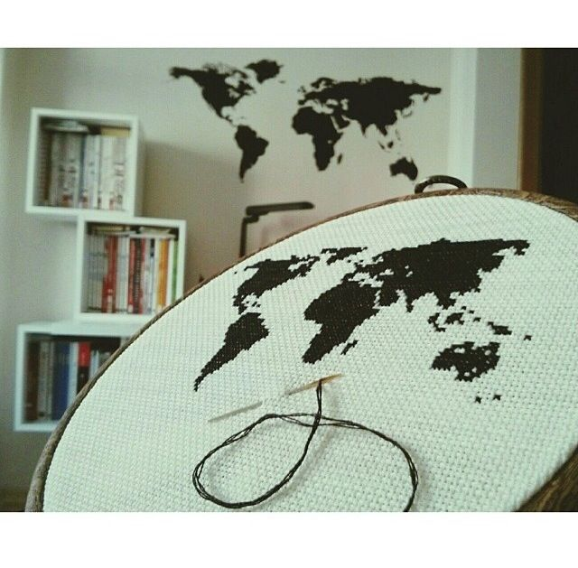 Cross-stitched World Map