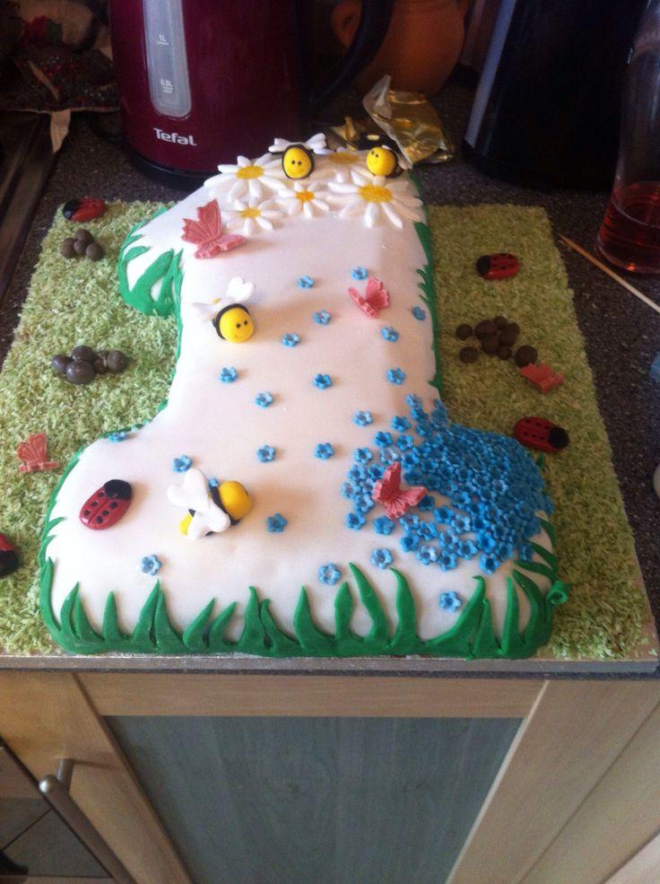 My daughters first birthday cake - pink vanilla cake