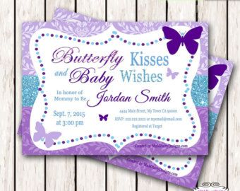 Purple Teal Butterfly Kisses Baby WIshes by adlyowlinvitations