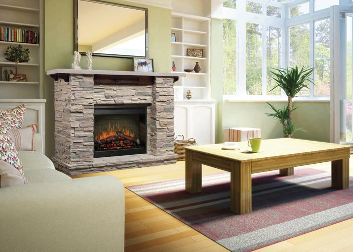 A Dimplex Featherstone Fireplace Mantel features inner glow logs molded from actual wood for incomparable realism. Set it up in minutes, without venting or clearance required!