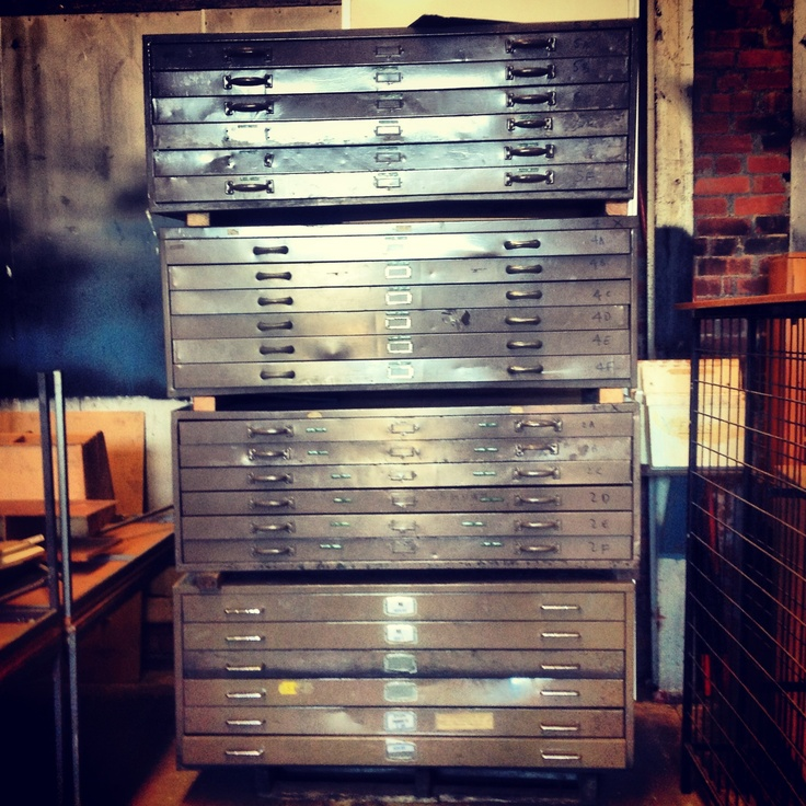 Vintage plan drawers