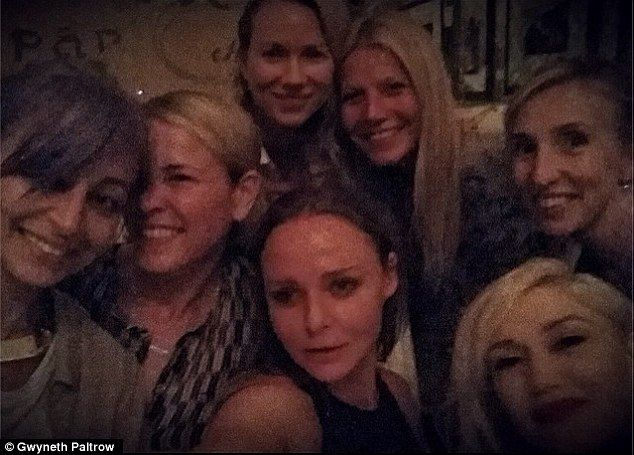 All-star selfie! Gwyneth Paltrow posted this picture of her with (L-R) Nicole Richie, Chelsea Handler, Naomi Watts, Stella McCartney, Gwen Stefani and Sam Taylor Wood and from their girls' night out yesterday