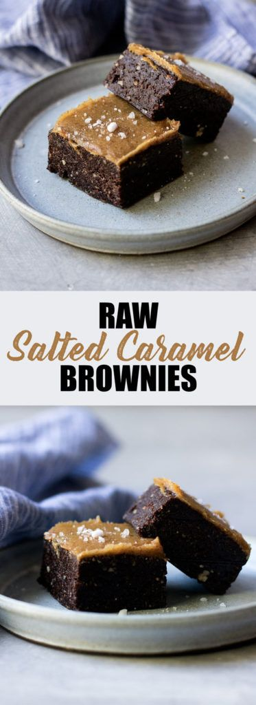 Choosingchia.com| These raw salted caramel brownies use only 5 ingredients and are so easy to make! They're also vegan and gluten-free!