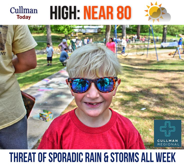 CULLMAN COUNTY WEATHER Monday April 17 2017  50% RAIN/STORMS THIS AFTERNOON - High 80°  TODAY: Cullman County weather will see partly cloudy skies and a gentle southwest wind. The high temperature will reach near 80°.  A 50% chance of passing light rain and thunderstorms exists this afternoon. Rainfall amounts should be less than 1/10th of an inch (could be higher in areas with thunderstorm activity).