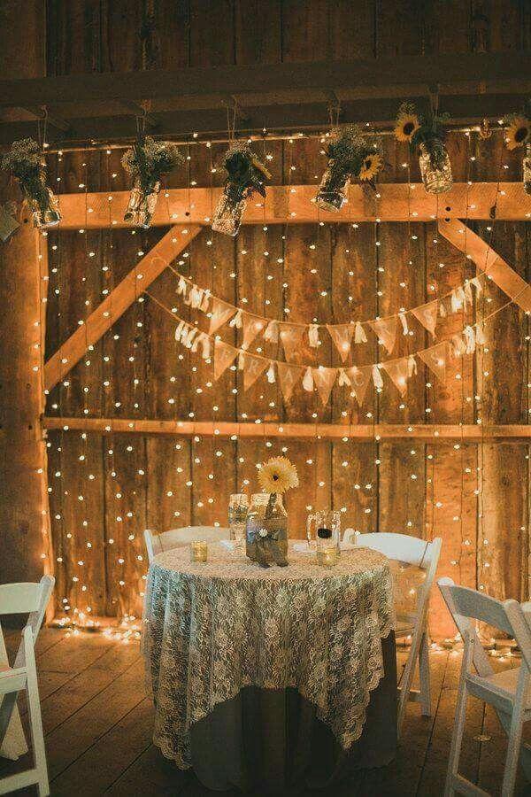 30 romantic indoor barn wedding decor ideas with lights - Indoor string light decoration ideas ...