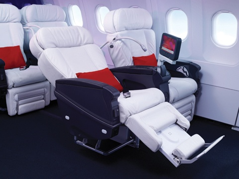 Upgrade your seat online to First Class just 6 hours prior to your flight and enjoy custom white leather seats, two free checked bags and all the delicious food and drinks your heart could desire.: First Class, Desks Chairs, Buckets Lists, Business Class, Class Airline, Virginamerica, Virgin America, Favorite Airline, Air Travel