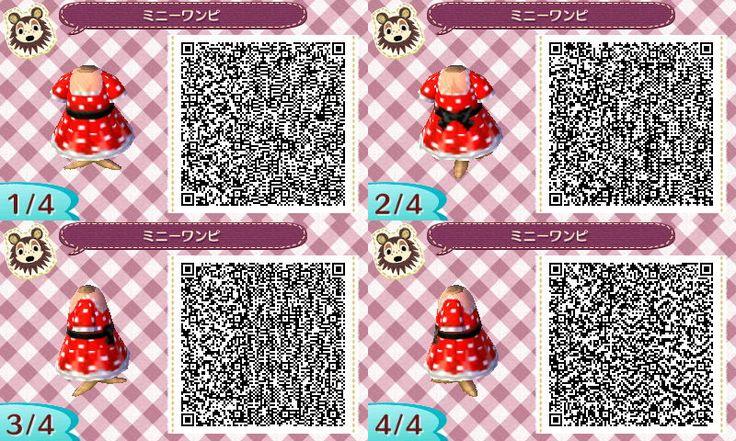 Minnie dress QR. Animal Crossing New leaf. AC NL. QR CODE. ANIMAL CROSSING JUMP OUT.