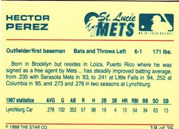 1988 Star St. Lucie Mets #18 Hector Perez Back