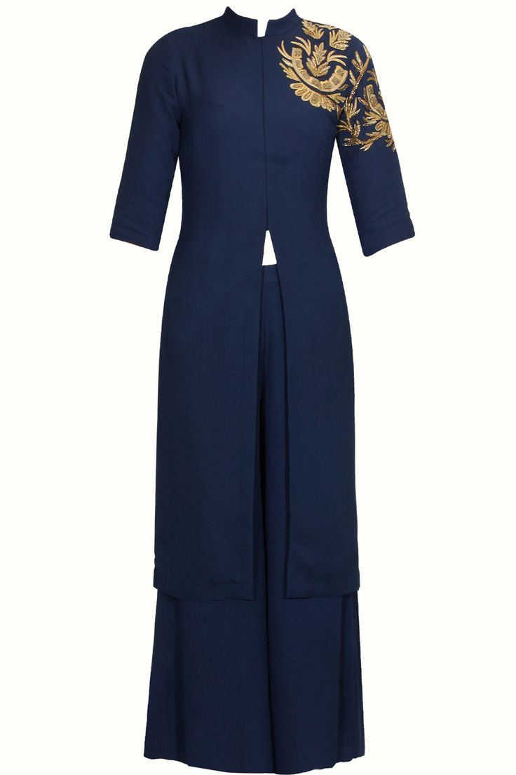Midnight blue zardozi embroidered front open kurta and pants set available only at Pernia's Pop Up Shop. #perniaspopupshop #shopnow #newcollection #wedding #SAMATVAM #ethnic #clothing #happyshopping