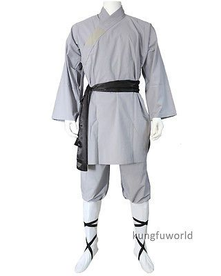 Gray #cotton #shaolin monk kung fu robe wushu #martial arts uniform tai chi…