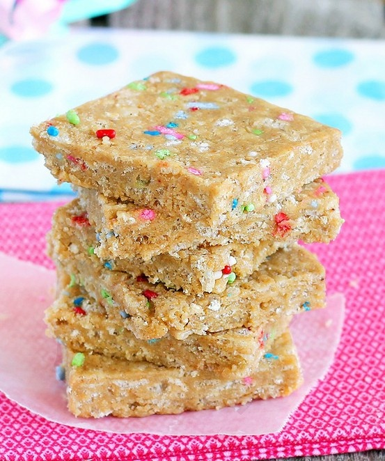 """""""Cake batter"""" bars. NO bake, they are actually healthy and nutritious, and there is no cake batter in them. They're basically homemade Luna bars-"""