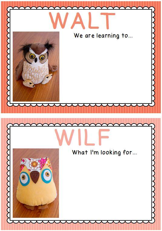 WALT and WILF goal setting posters - freebie
