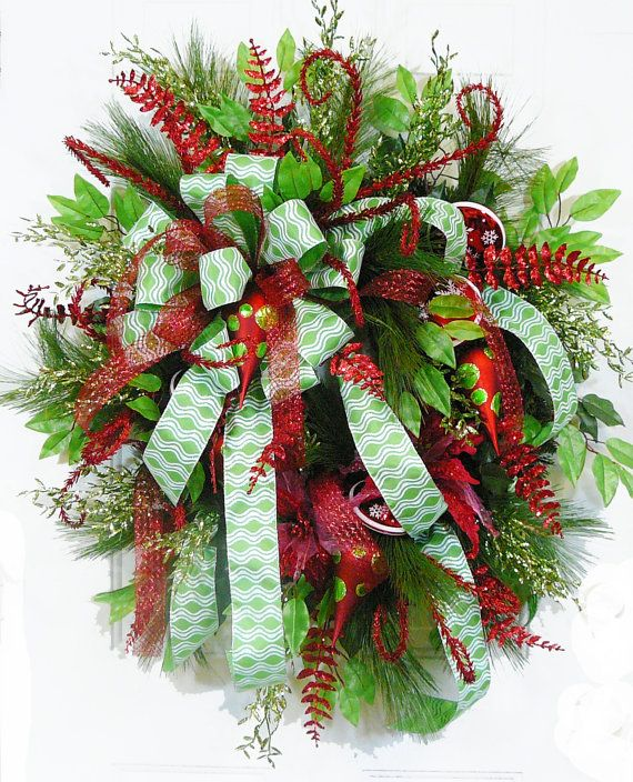 """Christmas Wreaths For Double Front Doors: CHRISTMAS DOOR WREATH, """"Wish-filled Christmas """" With A"""