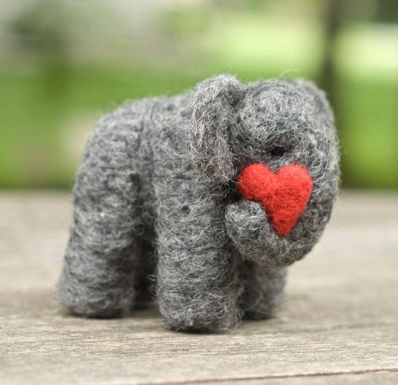 Needle Felted Elephant with Heart by scratchcraft on Etsy, $26.00