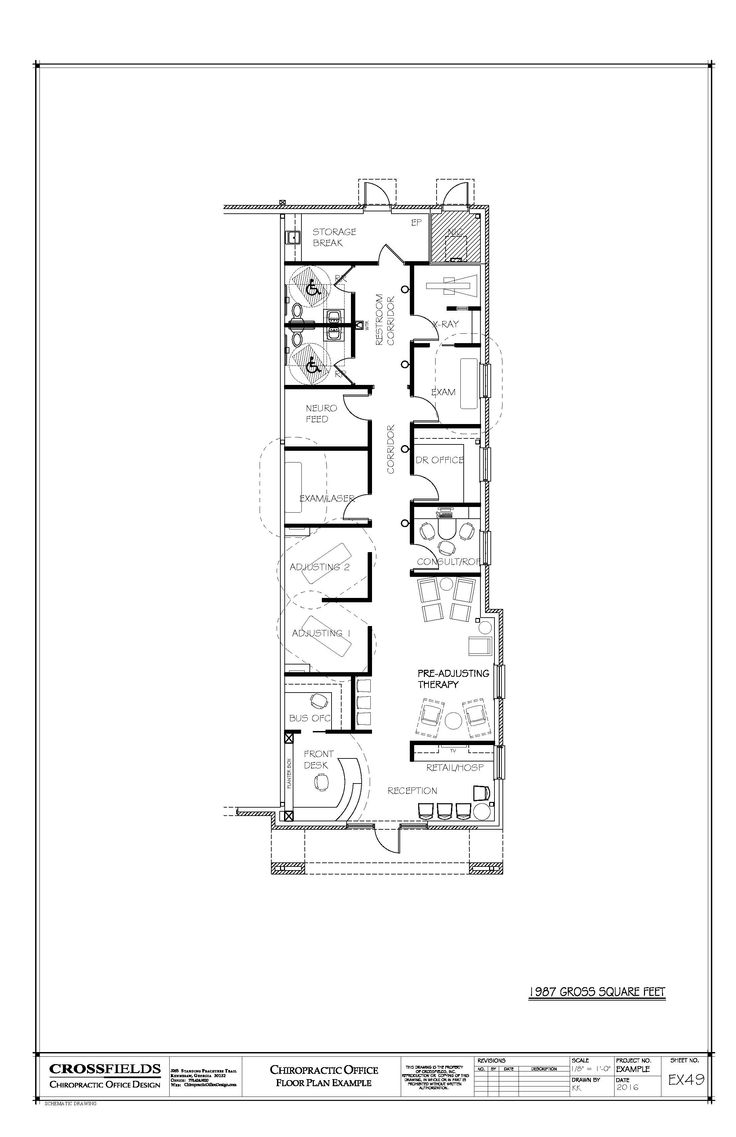 Chiropractic office condo suite floorplan with 4000 sq ft office plan