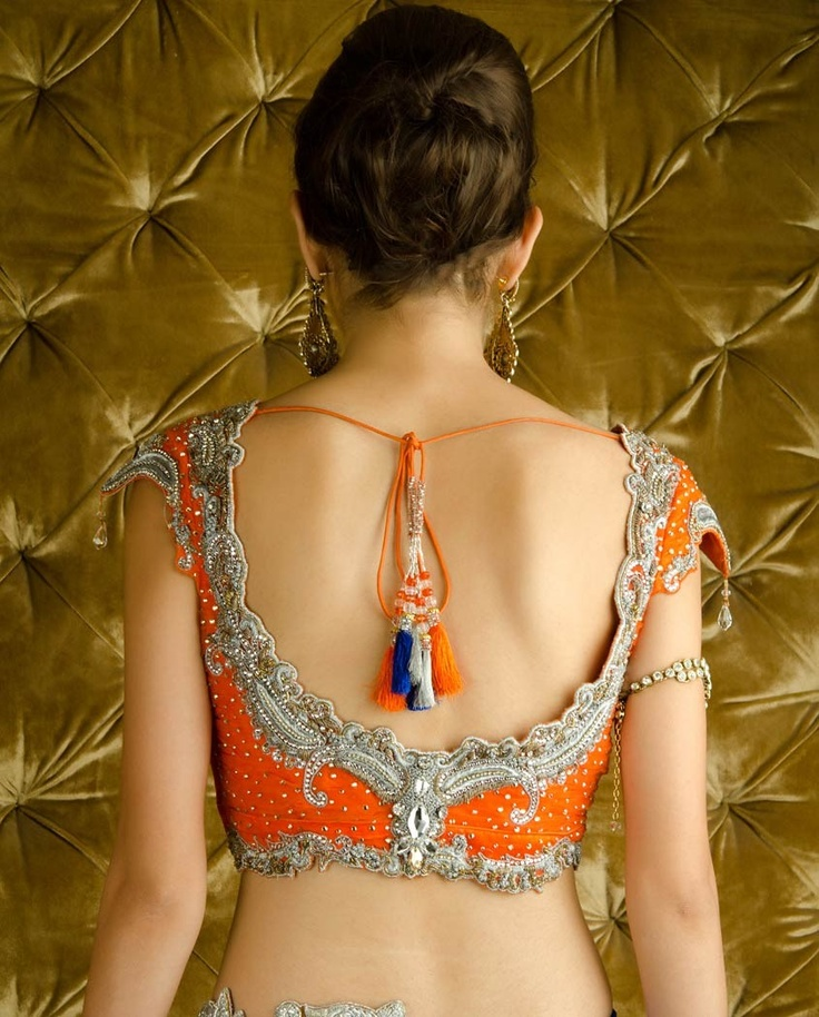 Sequined Orange and Ultramarine Lehenga Choli with Dupatta