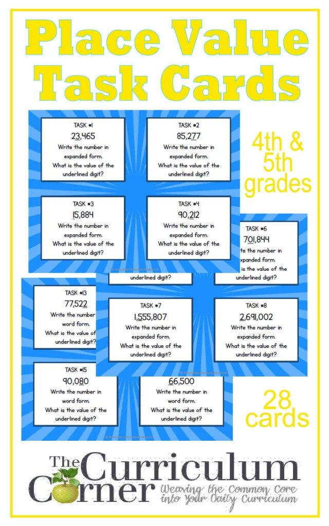 252 best for the 4th 8th grade math images on pinterest teaching 4th 5th grade place value task cards free from the curriculum corner fandeluxe Gallery