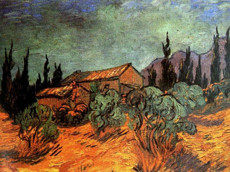 """""""Wooden Sheds, 1889 Vincent van Gogh """""""