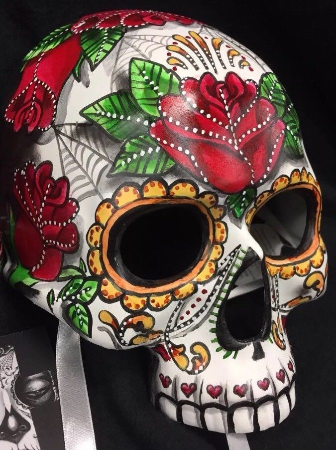Girl sugar skull half mask day of the dead dia de los muertos red roses candy