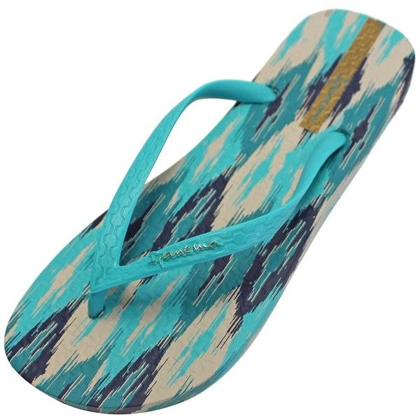 Teal Blue & Beige Ipanema Boho Print Brazilian Flip Flops ($17) ❤ liked on Polyvore featuring shoes, sandals, flip flops, flip flops women, footwear, green, patent sandals, teal green shoes, beige patent leather sandals and green shoes