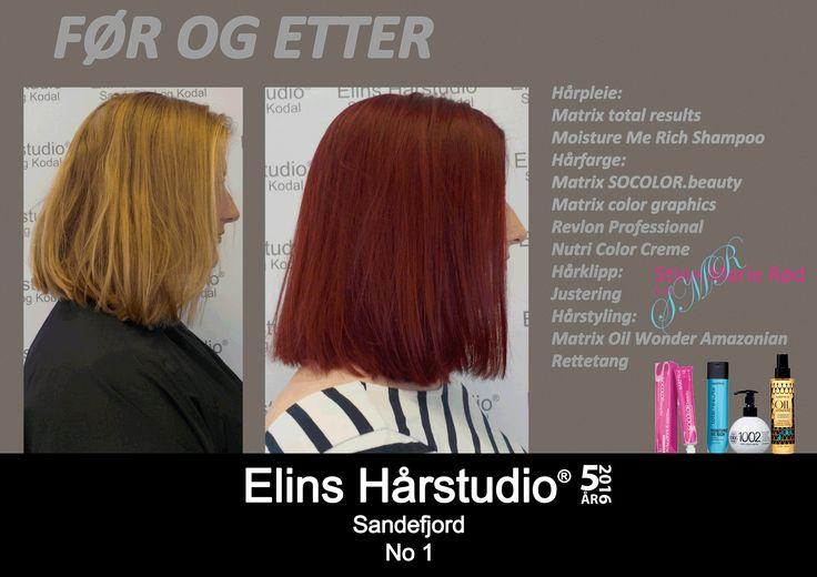 Skulderlangt blondt hår til dyp rød hårfarge