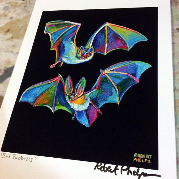Hello, Art Appreciator! What you have here is a hand-signed, open edition reproduction of my original flying bat paintings. Colorful, right?! Bursting with vibrant hues, this print is a fantastic, affordable gift for the Halloween lover in your life. I got into the Halloween spirit this year and created a trio of colorful, spooky bats. I decided I wanted some silly names so Im calling these two high flying bat brothers Warren Batty and Batrick Swayze. Hooha! Sized 8.5 by 11 inches and…