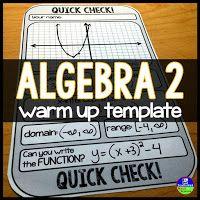 4 FREE Algebra and Algebra 2 Warm-up Templates