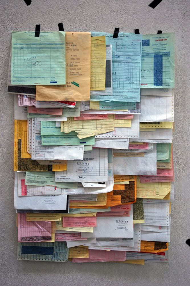 receipts...could be other things. like this idea for journaling....lots of places for random thoughts!