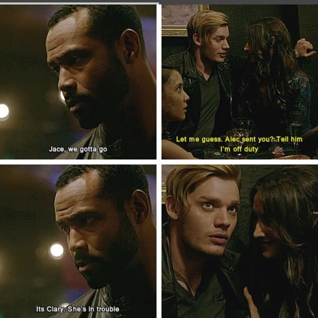 And Jace just drops everything he's doing and runs to save her <3 <3 <3 #Clace S02E07