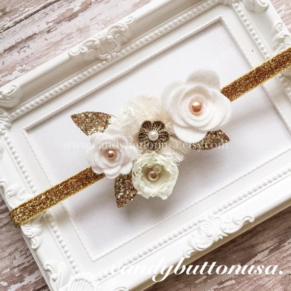 Ivory Gold Headband, Gold Baby Headband, Holiday Hairbows, White Gold Hairbows, Glitter Felt Bows, Gifts For Girls, Christmas Felt Headband
