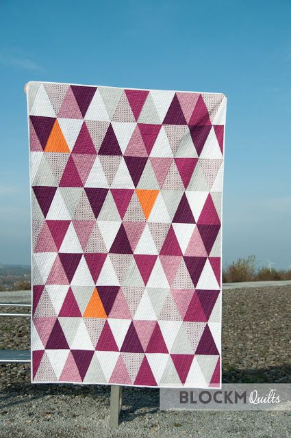 block M quilts: Porcupine Playground triangle quilt