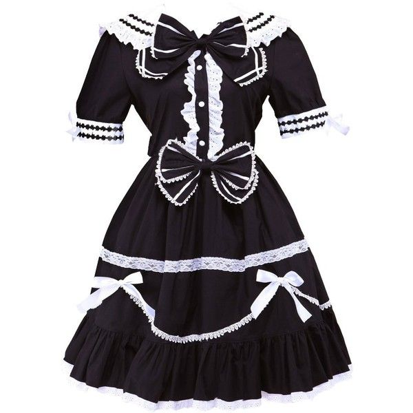 Partiss Women's Classic Short Sleeve Cotton Bow Lolita Dress ($70) ❤ liked on Polyvore featuring dresses, cotton day dresses, short sleeve cotton dress, bow dress, short sleeve dress and short-sleeve dresses