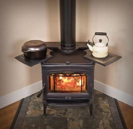 Wood stove with cooktop and large window (perfect for placing in kitchen)