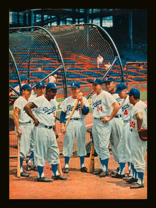 The Brooklyn Dodgers during Spring Training of 1956, still fresh from their World Series championship from Fall of 1955. Everything about this photo is pretty much perfect in every way possible.