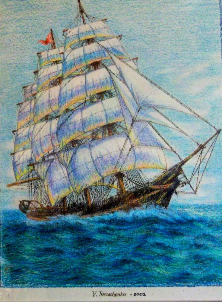 """""""Zeilboot"""", tekening papier/ wasco"""