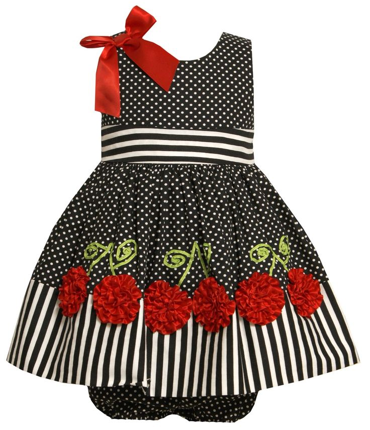 Amazon.com: Bonnie Baby Girls Dress with Dots And Bonaz Cherries: Clothing