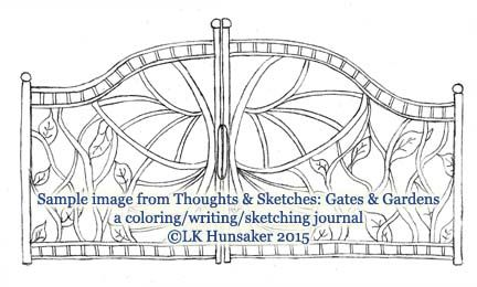 A half-page design from Thoughts & Sketches: Gates & Gardens. A coloring/writing/sketching journal.