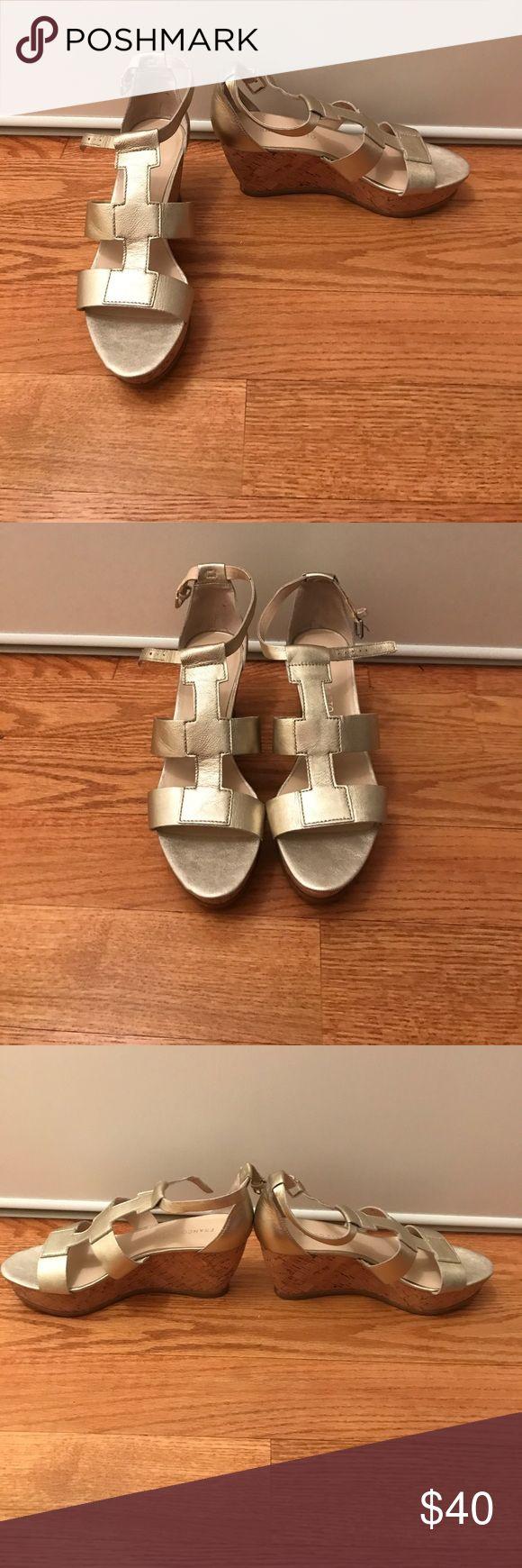 "Franco Sarto Gold Wedge Heels - NWOT Franco Sarto Gold Wedge Heels - NWOT- Size 8 - falco-Geometric-Inspired Upper-Platform Wedge- no box- approximately 3"" wedge in the back and 1"" in the front Franco Sarto Shoes Wedges"
