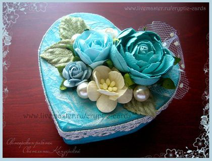 Коробочка-шкатулка `Бирюзовые цветы`