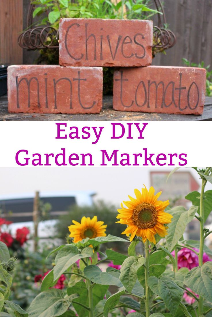 DIY Garden Markers, Garden Markers, Using Bricks in the Garden, Garden Art, DIY