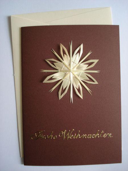 Weihnachtskarte mit Strohstern - Eisblume von Sternenmarkt - Filigrane Strohsterne & mehr auf DaWanda.com