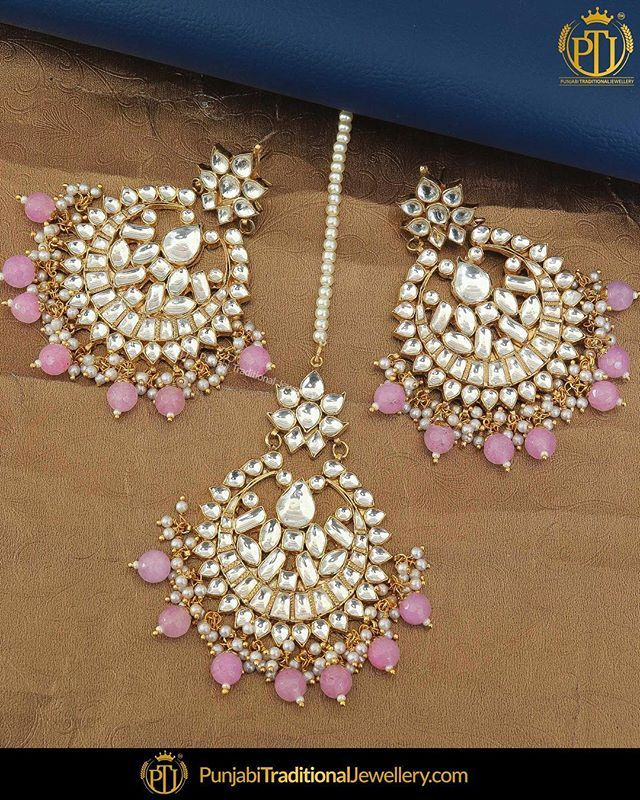 7f60cf113 featured:-Gold Finished Pink Kundan Earring & Tika Set Shop our latest  collection