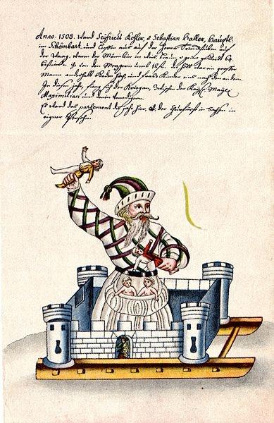Vom Schembartlaufen. Hrsg. von Fritz Brüggemann. Leipzig: Bibliographisches Institut, 1936. Schembarthölle von 1508 Kindleinfresser. Nürnberger Schembartbuch. Handschrift, Nürnberger Stadtbibliothek, Amb. 426