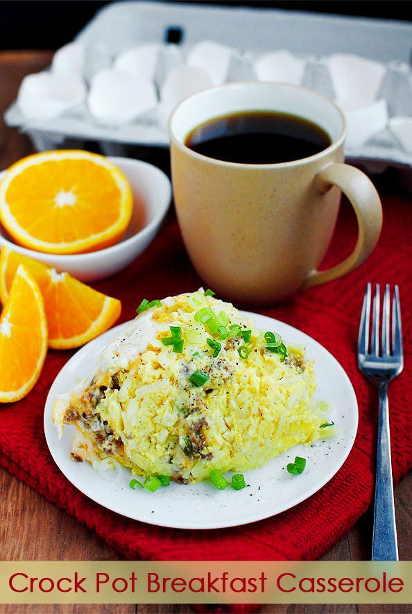 Crock Pot Breakfast Casserole | http://iowagirleats.com/2012/11/13/crock-pot-breakfast-casserole/